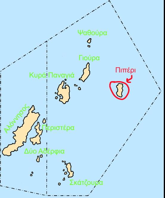Χάρτης με την τοποθεσία του νησιού